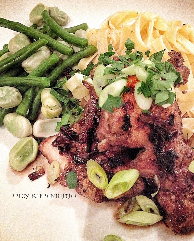 Spicy chicken tighs