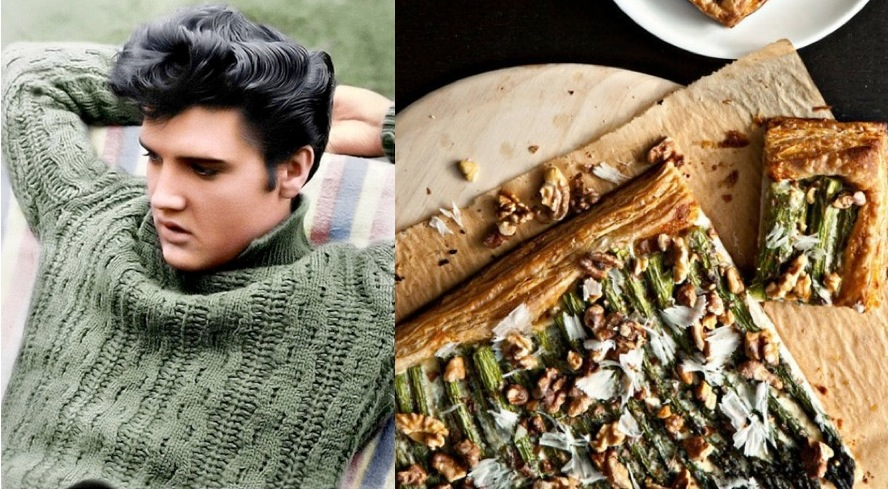 Elvis + Asparagus Tart with Walnuts and Parmesan