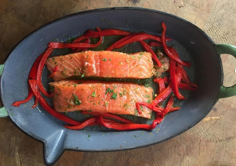 Salmon in the pan